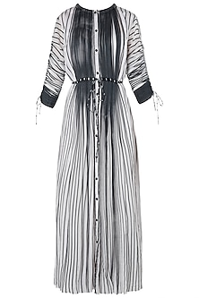 Black and White Micropleated Striped Kurta
