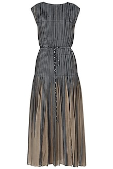 Grey and Black Micropleated Maxi Dress