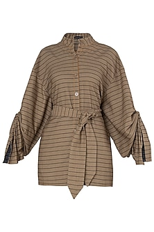 Tan Striped Jacket and Belt