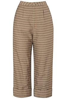 Tan Striped Trousers