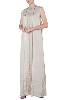 Silver Box Pleated Maxi Dress by Saaksha & Kinni