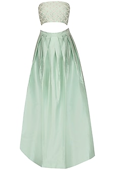 Pista Green Embroidered Cutout Gown