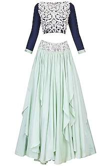 Navy Blue and Pista Green Embroidered Lehenga Skirt Set