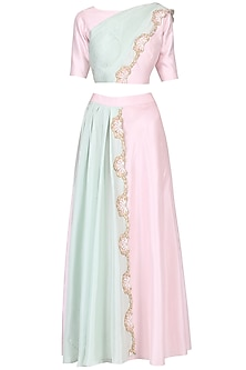 Millenium Pink and Pista Green Embroidered Crop Top and Skirt Set
