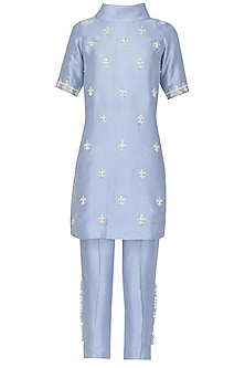 Powder Blue Embroidered Tunic with Cigarette Pants