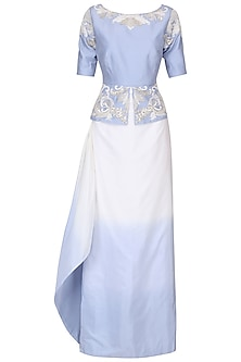 Ivory and Serenity Blue Embroidered Peplum Top with Skirt