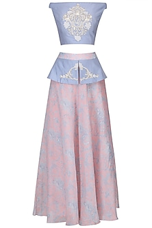 Rose Quartz and Serenity Blue Embroidered Bardot Top with Peplum Skirt