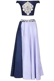 Navy Blue and Serenity Blue Bardot Top with Drape Skirt