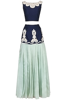 Navy Blue Embroidered Crop Top with Drop Waist Skirt