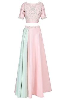 Blush Pink and Pista Green Embroidered Top with Drape Skirt