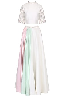 Ivory Embroidered Top with Double Panel Drape Skirt