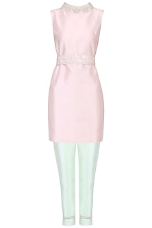 Blush Pink Embroidered Tunic with Belt and Pista Green Cigarette Pants