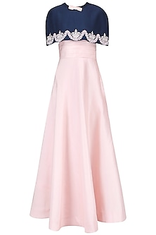 Blush Pink Cummerbund Gown with Navy Blue Embroidered Cape