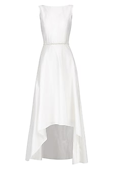 Ivory Embroidered Mullet Dress