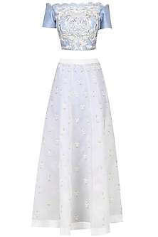 Serenity Blue and Ivory Embroidered Bardot Top, Pants, Overskirt and Dupatta Set