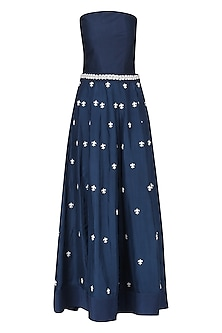 Navy Blue Embroidered Jumpsuit with Overskirt