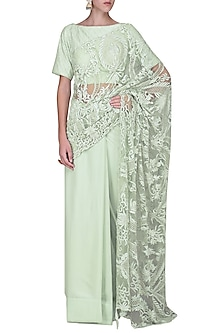 Mint Embroidered Saree with Blouse by Sakshi K Relan
