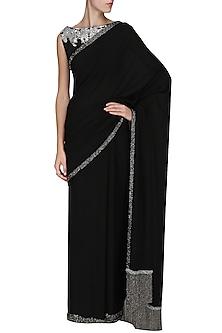 Black Embroidered Saree with Blouse by Sakshi K Relan