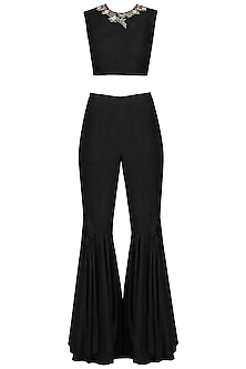 Black Embroidered Crop Top with Flared Pants