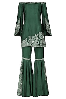 Emerald Embroidered Sharara Set