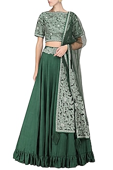 Emerald Embroidered Lehenga Set by Sakshi K Relan