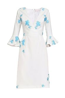 Ivory and Blue Embroidered Overlap Dress
