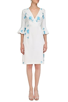 Ivory and Blue Embroidered Overlap Dress by Sakshi K Relan