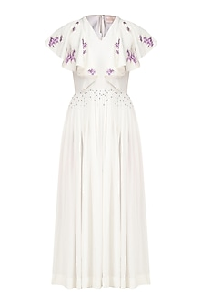 Ivory and Lavender Embroidered Pleated Dress by Sakshi K Relan