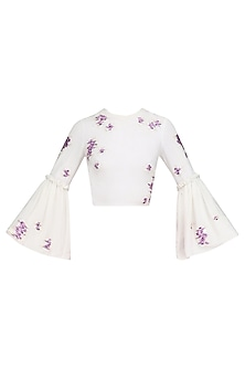 Ivory Embroidered Ruffled Crop Top