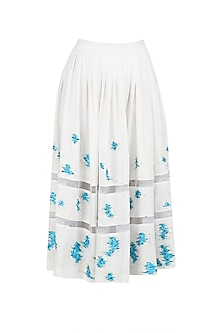 Ivory Embroidered Calf Length Skirt by Sakshi K Relan