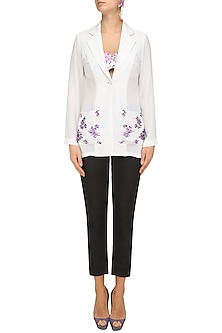 Ivory and Lavender Embroidered Blazer by Sakshi K Relan