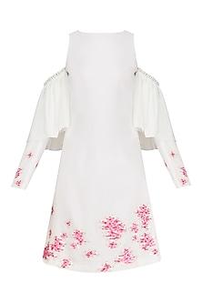 Ivory Cold Shoulder Embroidered Dress by Sakshi K Relan