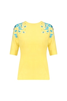 Yellow and Blue Embroidered Top
