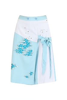 Blue Wrap Around Embroidered Skirt by Sakshi K Relan