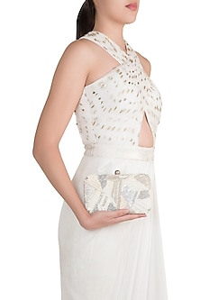 White Geometrical Embroidered Clutch by SONNET