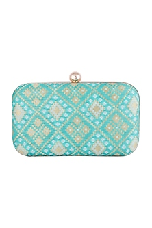 Blue Brocade Clutch by SONNET