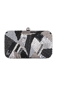 Black Geometrical Embroidered Clutch by SONNET