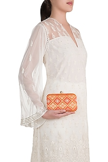 Orange Brocade Clutch by SONNET