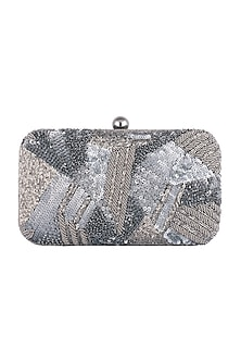 Grey Geometrical Embroidered Clutch by SONNET