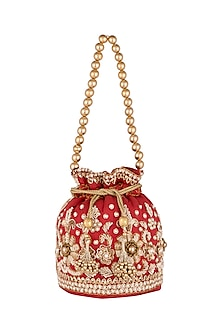 Red Embroidered Potli by SONNET