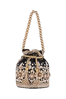 Black Embroidered Potli by SONNET