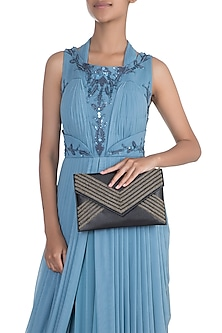 Navy Blue Embroidered Envelope Clutch by SONNET