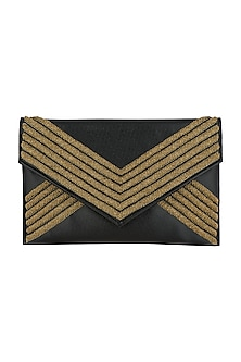 Black Embroidered Envelope Clutch by SONNET