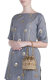 Olive Green Embroidered Potli by SONNET