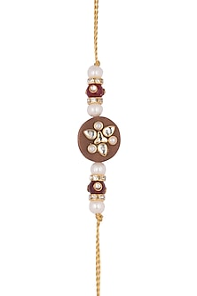Gold Finish Kundan & Pearl Rakhi by SONNET