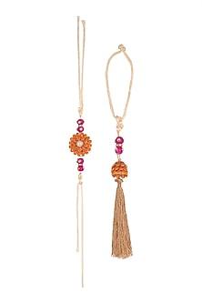 Gold Finish Orange Floral Pacchi Rakhi & Lumba Set by SONNET