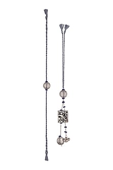 Silver Oxidised Blue Beaded Rakhi & Lumba Set by SONNET