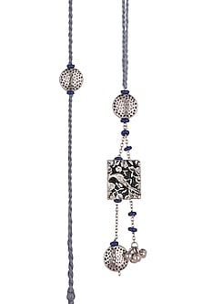Silver Oxidised Blue Beaded Rakhi & Lumba Set by SONNET