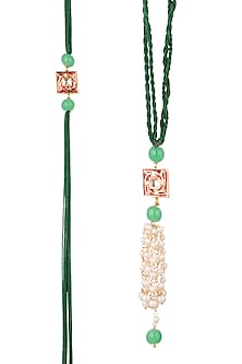 Gold Finish Kundan Enameled Rakhi & Lumba Set by SONNET