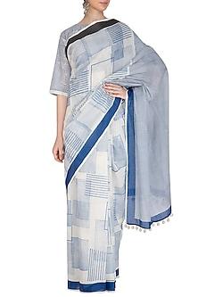 Indigo Hand Block Printed Saree by Silkwaves
